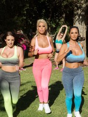 Bunch of girlfriends gather for a sexy workout