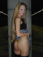 Blond-haired babe shows her tits and gives you some upskirt shots