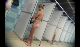 Naked blonde with a frumpy ass takes a shower in a hot voyeur vid