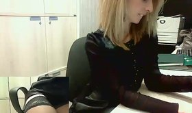 Stockings-clad office chick being sexy on camera