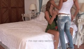 Amateur girlfriends fucking hard on a big wide bed