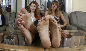 Impressive foot fetish tease from two sexy young girlfriends
