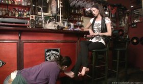 "Chick with big feet gets thoroughly ""cleaned"" by her slave"