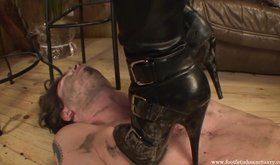 Dirty boots femdom babe gets to trample her filthy sex slave