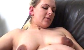 Huge pregnant blonde with big tits and dark nipples during intercourse