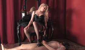 Femdom goddess torturing his cock with her sexy heels