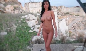 Risky and spicy brunette gets naked outdoors where she can be seen