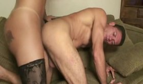 Busty blonde Ts bombshell fucks muscle stud's ass