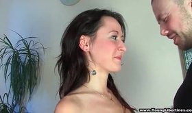 A hot brunette sucks a big cock and swallows cum