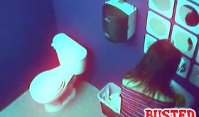 Barely legal perky hoe masturbates in public restroom