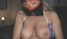 Masked blonde BBW plays with her favorite dildo