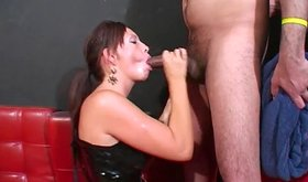Asian girl in leather boots giving blowjobs and handjobs