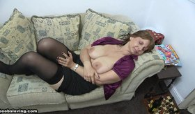 Mature lady falls asleep with her tits out