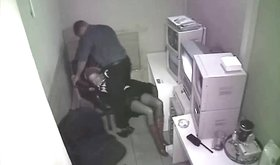 Spy cam footage: fucking his GF at the office