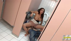 Ripping a pantyhose in the bathroom stall