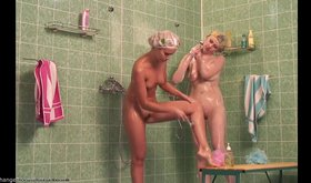 Tanned chick showering with her pale-ass girlfriend