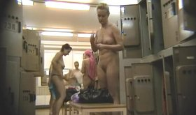 Spy cam footage showing naked babes in the locker room